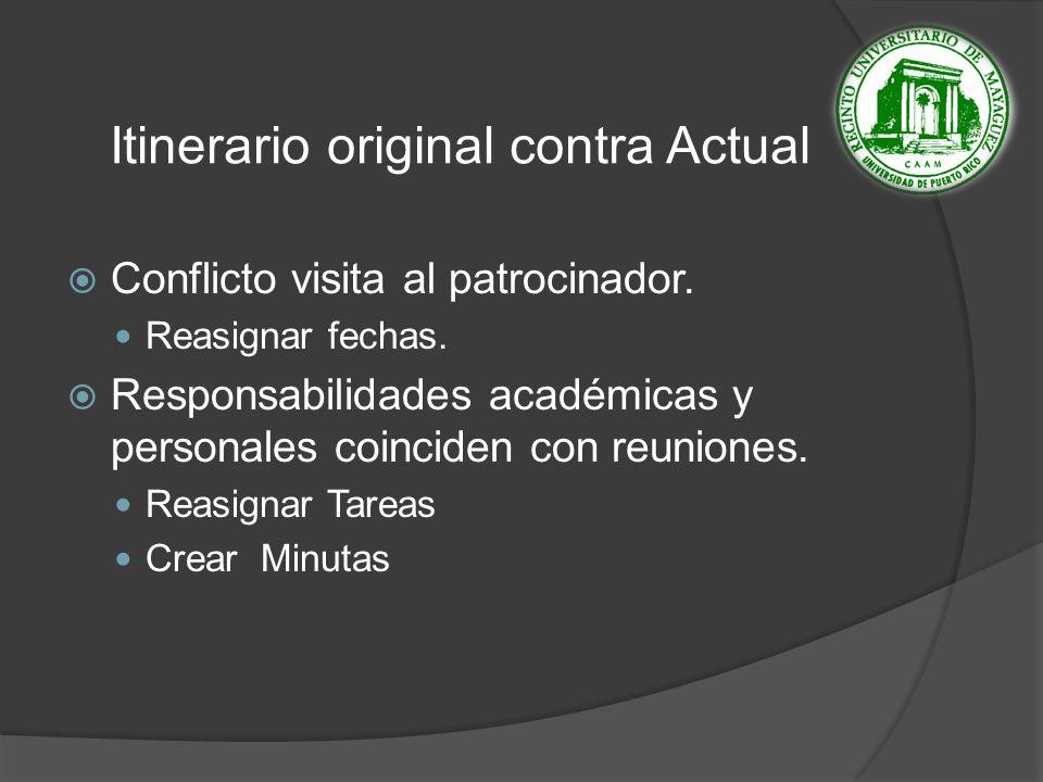Itinerario original contra Actual Conflicto visita al patrocinador.
