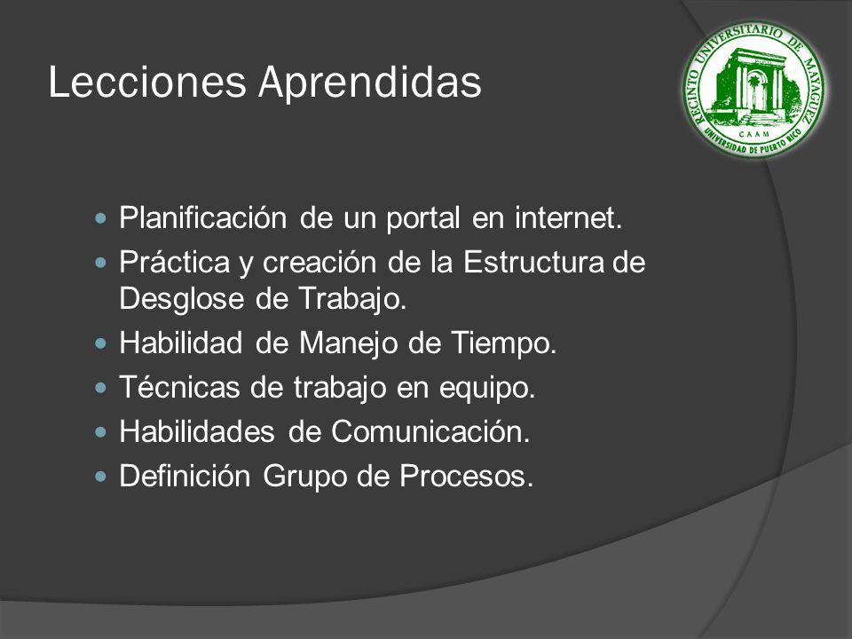 Lecciones Aprendidas Planificación de un portal en internet.