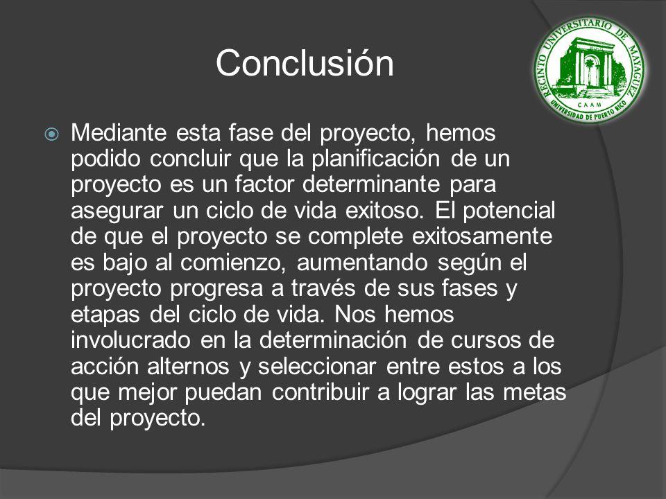 Conclusión Mediante esta fase del proyecto, hemos podido concluir que la planificación de un proyecto es un factor determinante para asegurar un ciclo de vida exitoso.