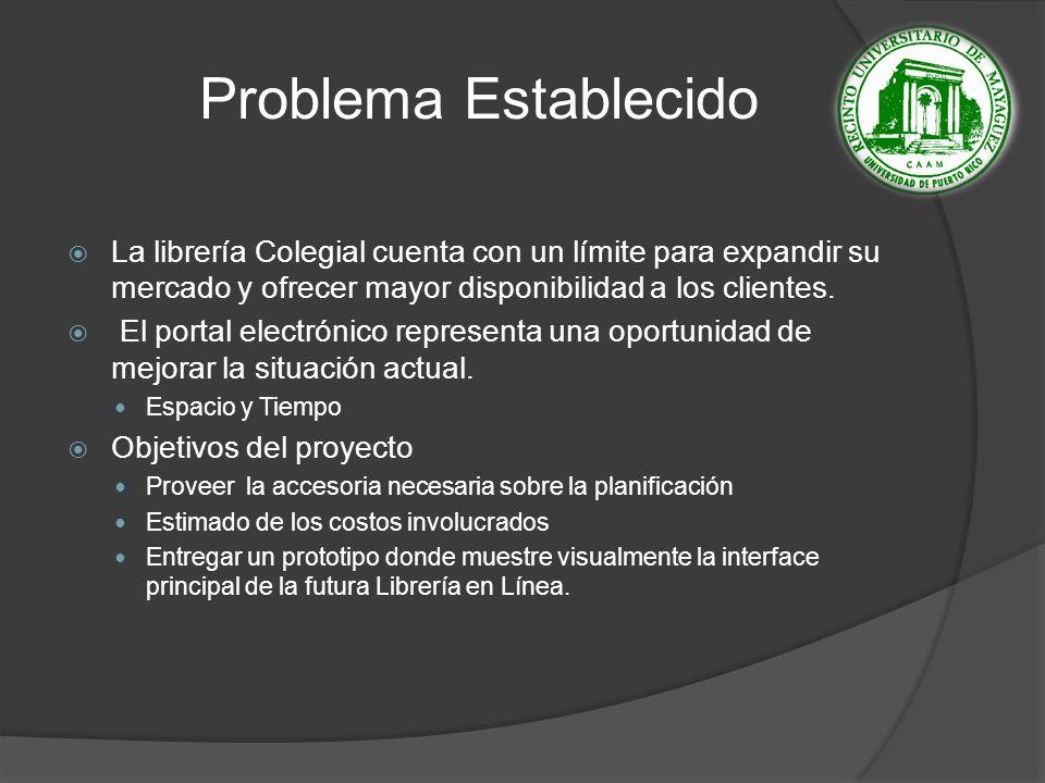 Problema Establecido La librería Colegial cuenta con un límite para expandir su mercado y ofrecer mayor disponibilidad a los clientes.