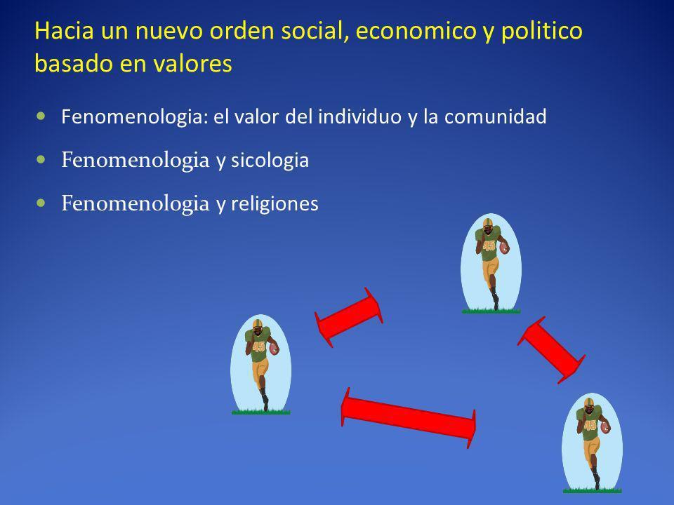 Hacia un nuevo orden social, economico y politico basado en valores Fenomenologia: el valor del individuo y la comunidad Fenomenologia y sicologia Fen