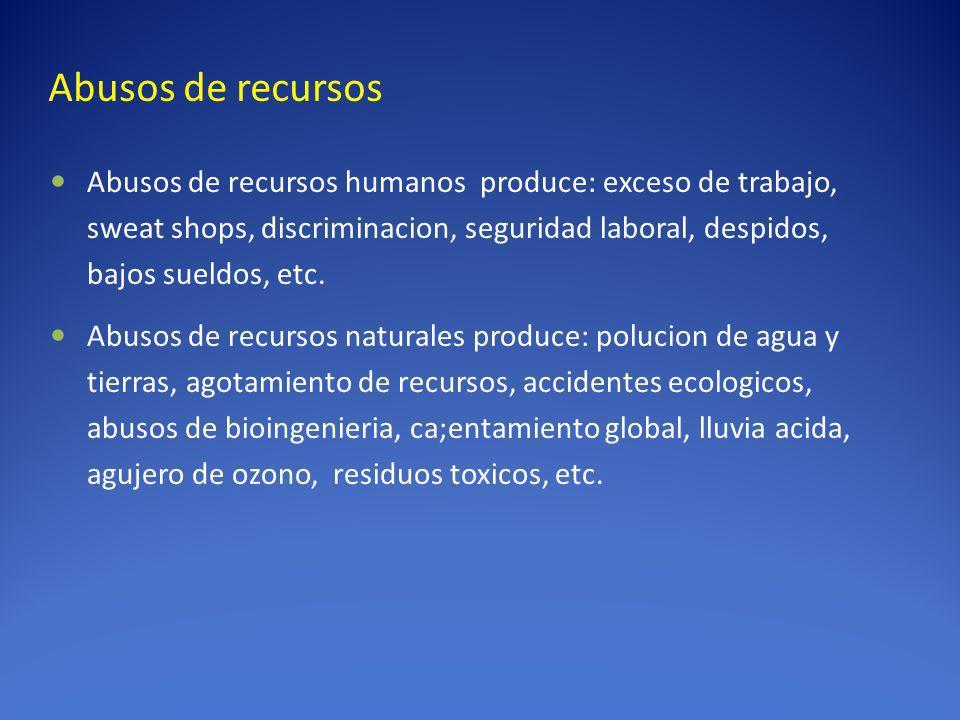 Abusos de recursos Abusos de recursos humanos produce: exceso de trabajo, sweat shops, discriminacion, seguridad laboral, despidos, bajos sueldos, etc