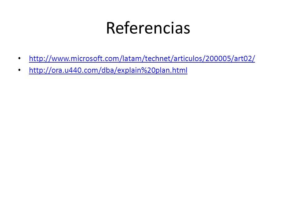 Referencias http://www.microsoft.com/latam/technet/articulos/200005/art02/ http://ora.u440.com/dba/explain%20plan.html