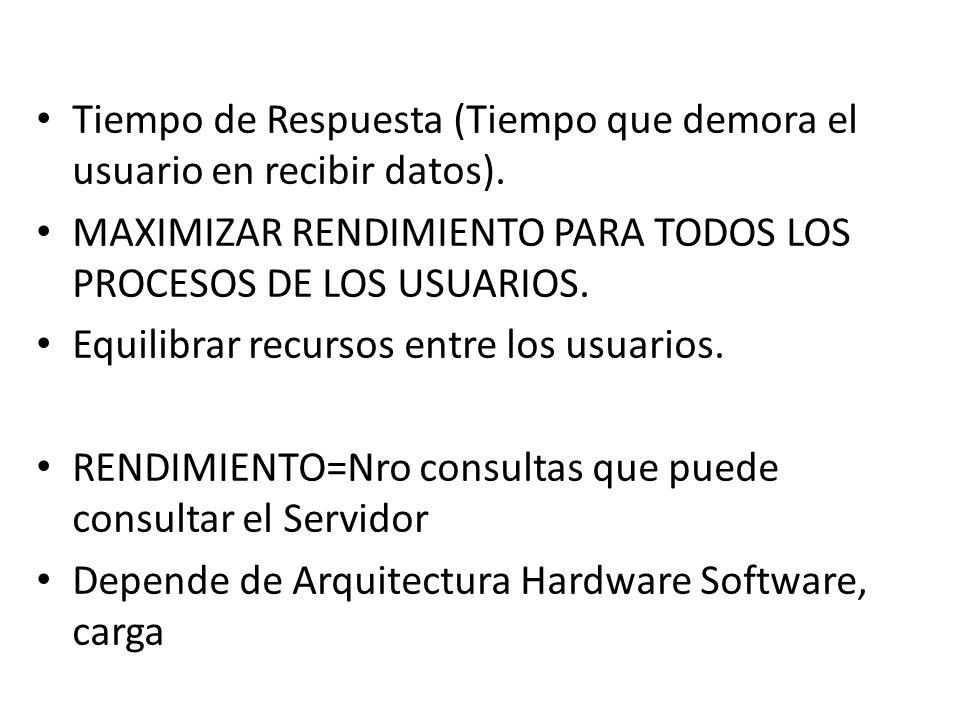 FACTORES QUE AFECTAN EL RENDIMIENTO Recursos del sistema (Memoria, Procesador, Disco Duro, Red, etc.) Sistema Operativo.