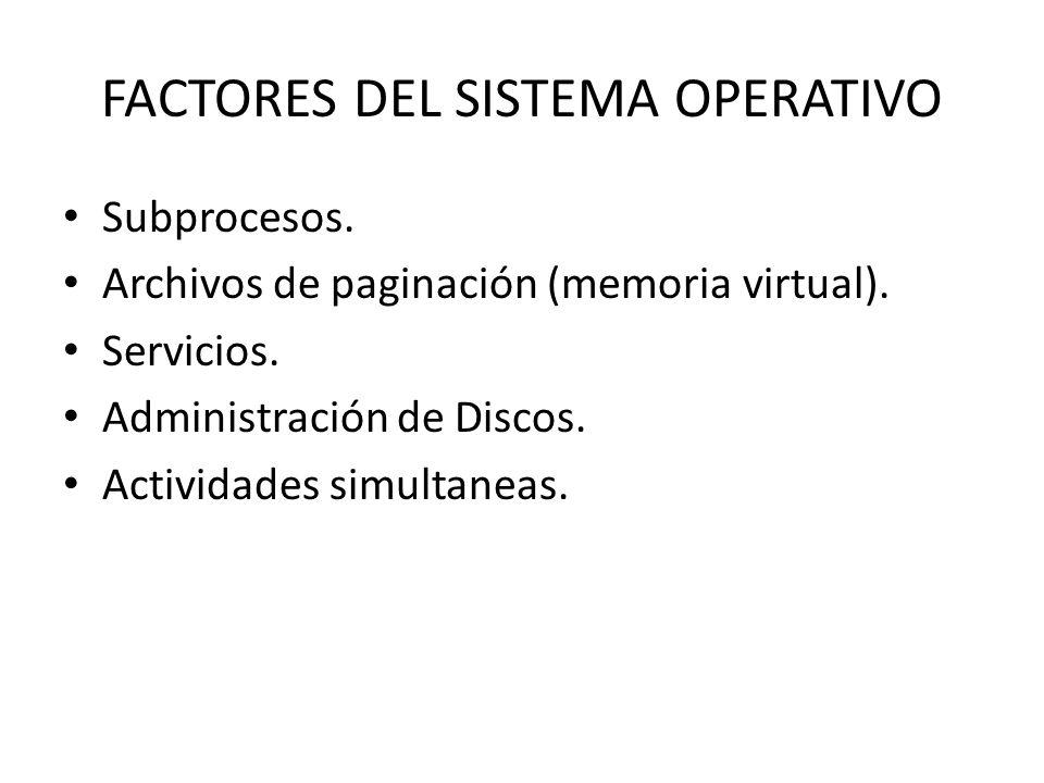 FACTORES DEL SISTEMA OPERATIVO Subprocesos. Archivos de paginación (memoria virtual). Servicios. Administración de Discos. Actividades simultaneas.