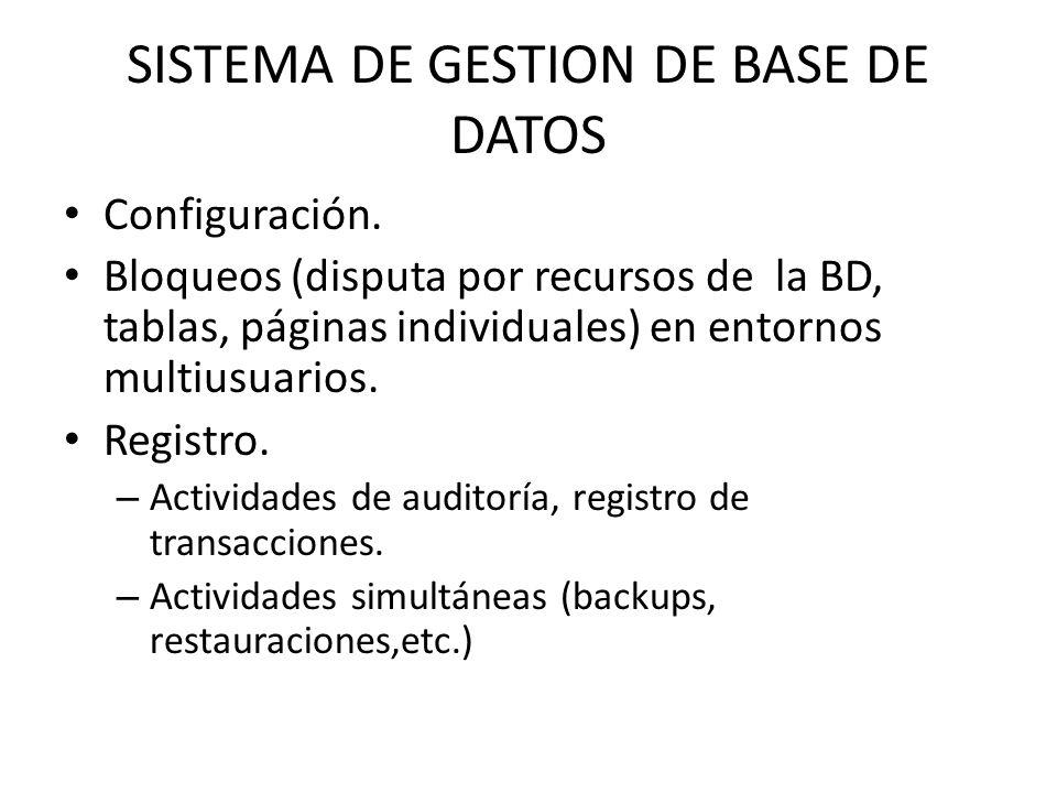 SISTEMA DE GESTION DE BASE DE DATOS Configuración. Bloqueos (disputa por recursos de la BD, tablas, páginas individuales) en entornos multiusuarios. R