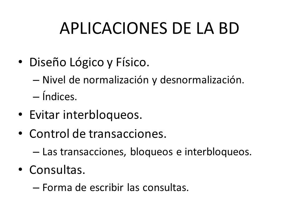 APLICACIONES DE LA BD Diseño Lógico y Físico. – Nivel de normalización y desnormalización. – Índices. Evitar interbloqueos. Control de transacciones.