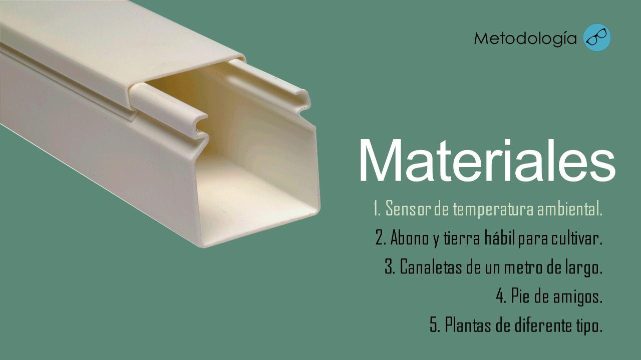 3. Canaletas de un metro de largo. Materiales 2. Abono y tierra hábil para cultivar. 1. Sensor de temperatura ambiental. 4. Pie de amigos. 5. Plantas