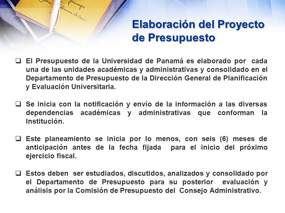 Elaboración del Proyecto de Presupuesto El Presupuesto de la Universidad de Panamá es elaborado por cada una de las unidades académicas y administrati