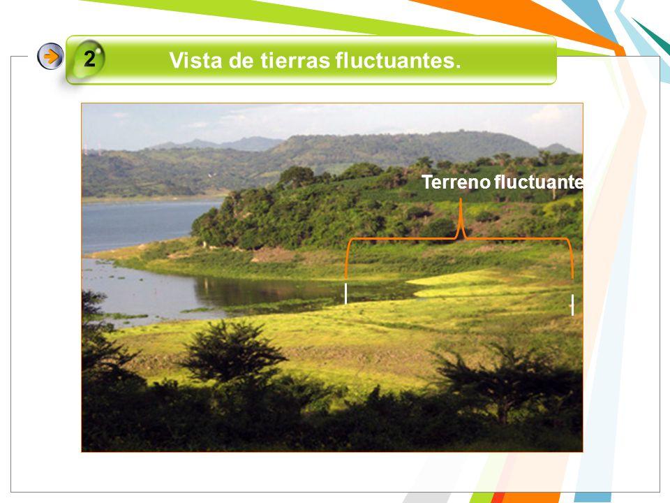 Vista de tierras fluctuantes. 2 Terreno fluctuante