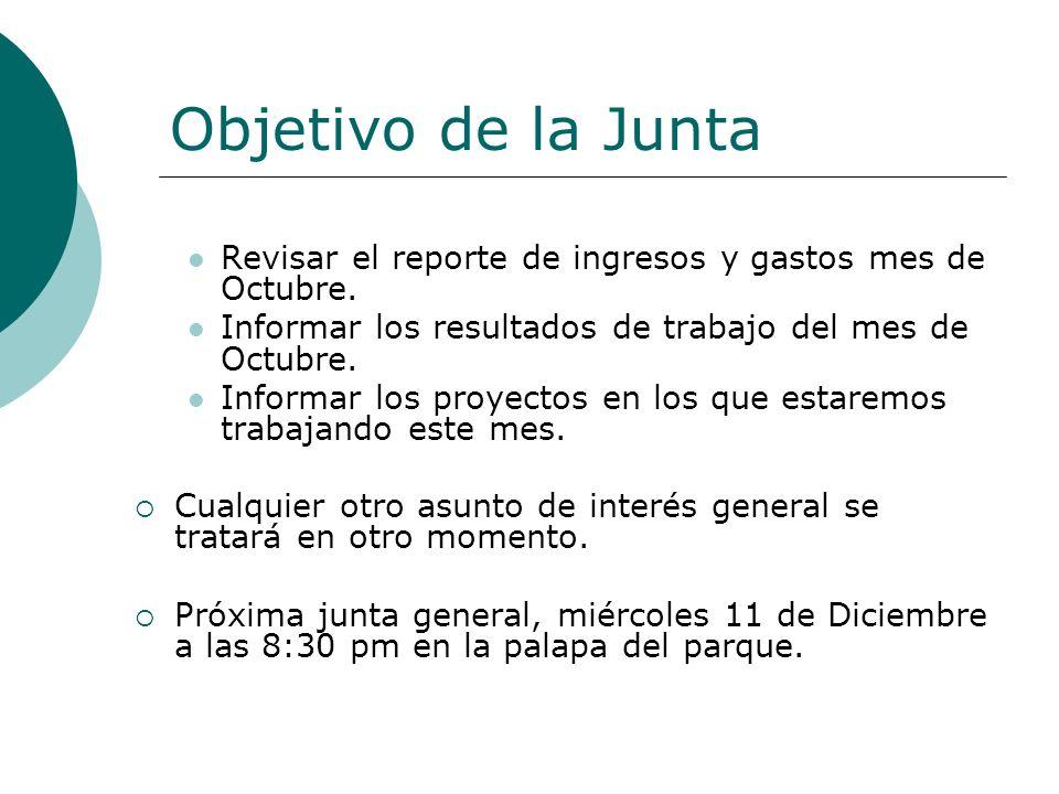 Objetivo de la Junta Revisar el reporte de ingresos y gastos mes de Octubre.