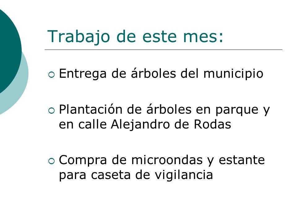 Trabajo de este mes: Entrega de árboles del municipio Plantación de árboles en parque y en calle Alejandro de Rodas Compra de microondas y estante para caseta de vigilancia