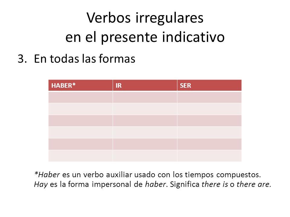 Verbos irregulares en el presente indicativo 3.En todas las formas *Haber es un verbo auxiliar usado con los tiempos compuestos.