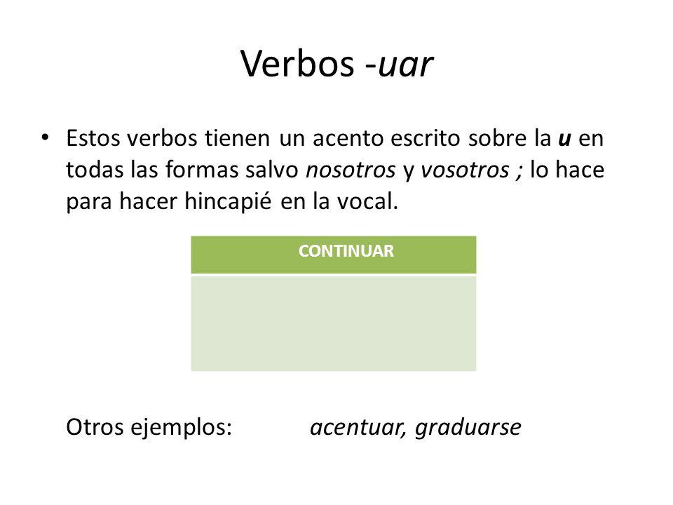 Verbos -uar Estos verbos tienen un acento escrito sobre la u en todas las formas salvo nosotros y vosotros ; lo hace para hacer hincapié en la vocal.