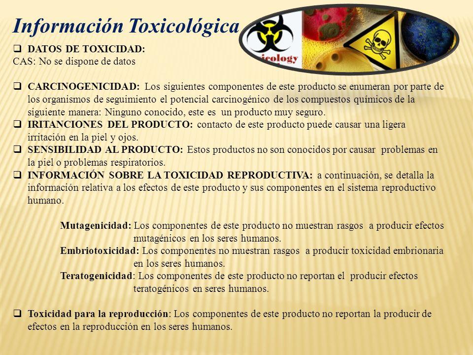 DATOS DE TOXICIDAD: CAS: No se dispone de datos CARCINOGENICIDAD: Los siguientes componentes de este producto se enumeran por parte de los organismos