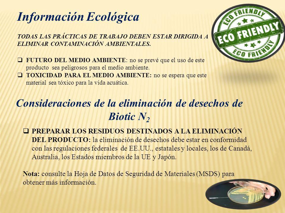 Información Ecológica TODAS LAS PRÁCTICAS DE TRABAJO DEBEN ESTAR DIRIGIDA A ELIMINAR CONTAMINACIÓN AMBIENTALES. FUTURO DEL MEDIO AMBIENTE: no se prevé