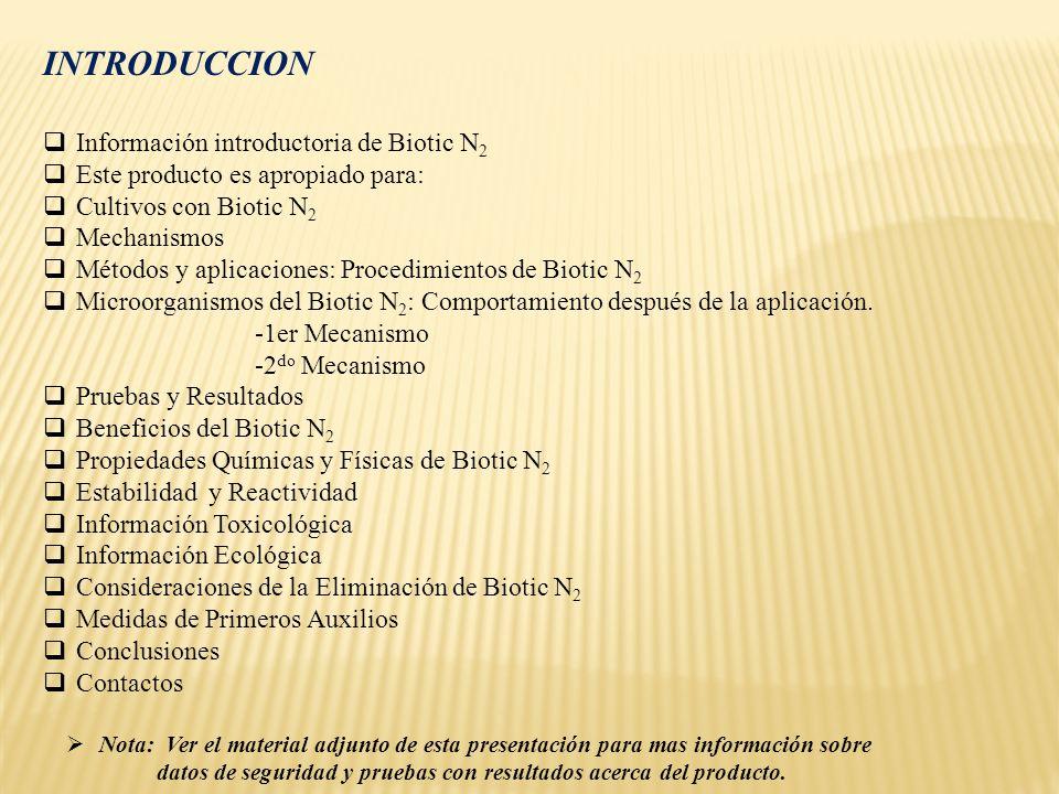 INTRODUCCION Información introductoria de Biotic N 2 Este producto es apropiado para: Cultivos con Biotic N 2 Mechanismos Métodos y aplicaciones: Proc