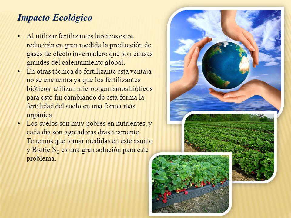 Impacto Ecológico Al utilizar fertilizantes bióticos estos reducirán en gran medida la producción de gases de efecto invernadero que son causas grande