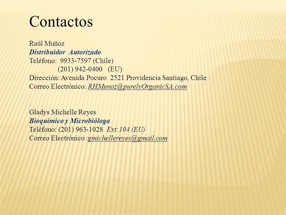 Contactos Raúl Muñoz Distribuidor Autorizado Teléfono: 9933-7597 (Chile) (201) 942-0400 (EU) Dirección: Avenida Pocuro 2521 Providencia Santiago, Chil