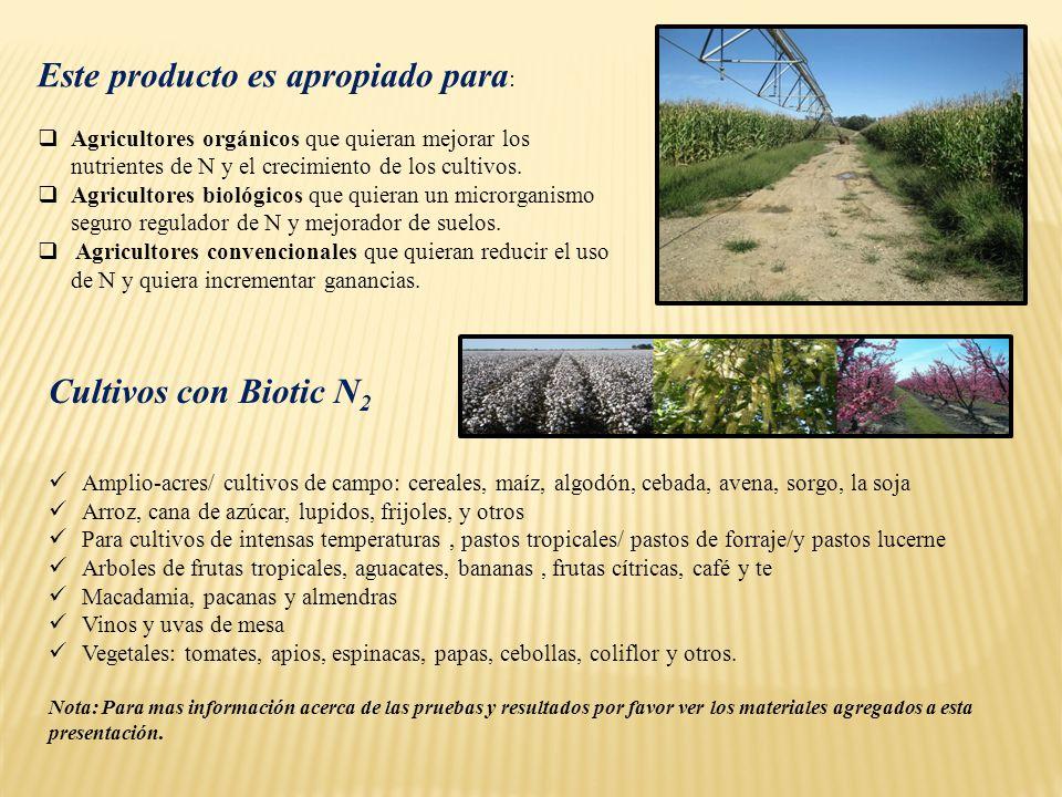 Este producto es apropiado para : Agricultores orgánicos que quieran mejorar los nutrientes de N y el crecimiento de los cultivos. Agricultores biológ