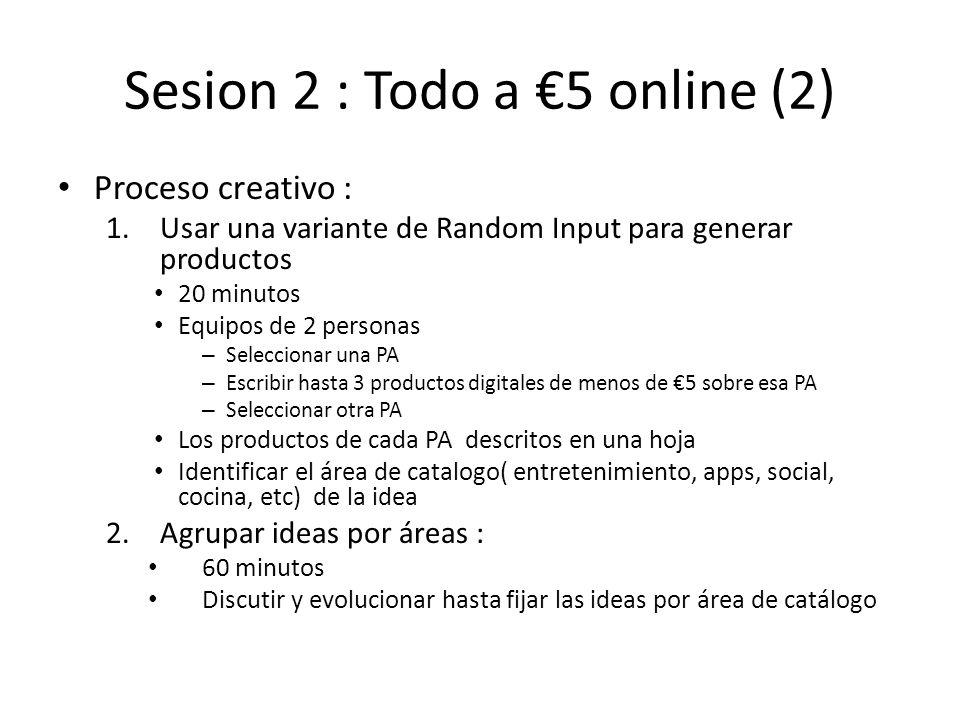Sesion 2 : Todo a 5 online (2) Proceso creativo : 1.Usar una variante de Random Input para generar productos 20 minutos Equipos de 2 personas – Selecc