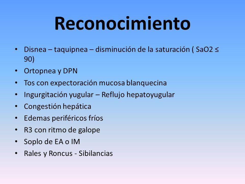 Reconocimiento Disnea – taquipnea – disminución de la saturación ( SaO2 90) Ortopnea y DPN Tos con expectoración mucosa blanquecina Ingurgitación yugu