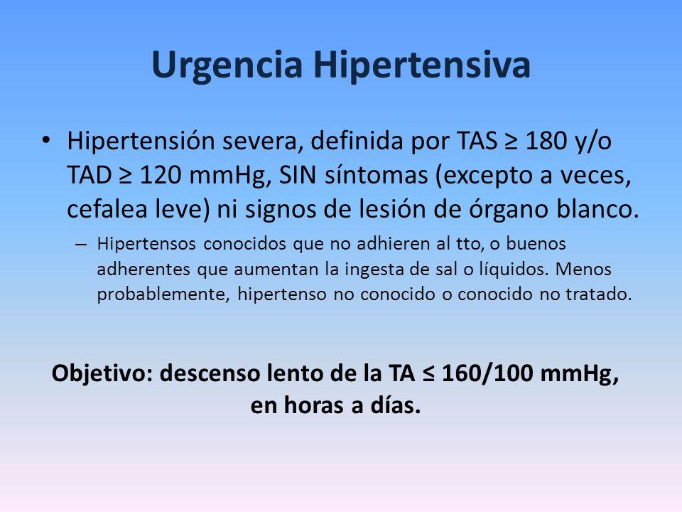 Urgencia Hipertensiva Hipertensión severa, definida por TAS 180 y/o TAD 120 mmHg, SIN síntomas (excepto a veces, cefalea leve) ni signos de lesión de