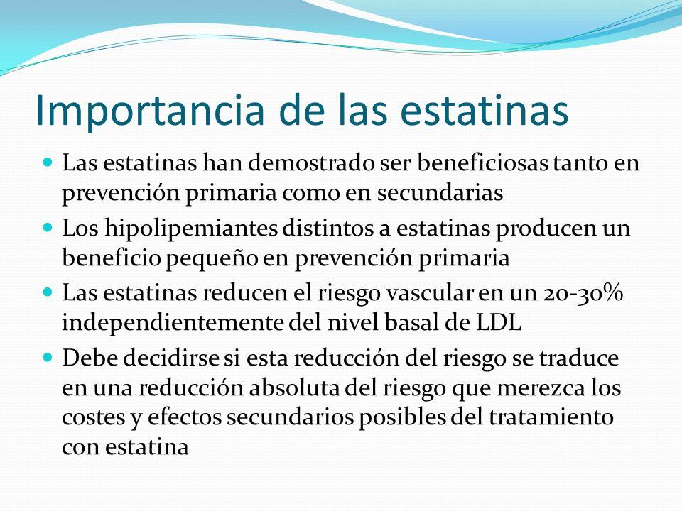 Importancia de las estatinas Las estatinas han demostrado ser beneficiosas tanto en prevención primaria como en secundarias Los hipolipemiantes distin