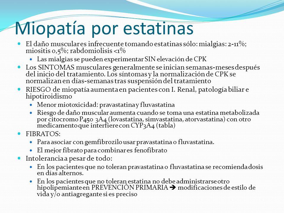 Miopatía por estatinas El daño muscular es infrecuente tomando estatinas sólo: mialgias: 2-11%; miositis 0,5%; rabdomiolisis <1% Las mialgias se pueden experimentar SIN elevación de CPK Los SINTOMAS musculares generalmente se inician semanas-meses después del inicio del tratamiento.