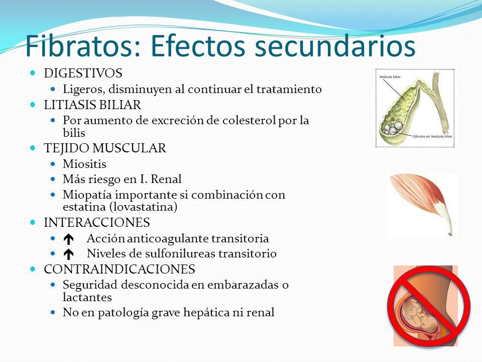 Fibratos: Efectos secundarios DIGESTIVOS Ligeros, disminuyen al continuar el tratamiento LITIASIS BILIAR Por aumento de excreción de colesterol por la bilis TEJIDO MUSCULAR Miositis Más riesgo en I.