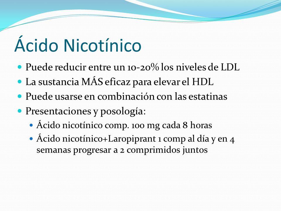 Ácido Nicotínico Puede reducir entre un 10-20% los niveles de LDL La sustancia MÁS eficaz para elevar el HDL Puede usarse en combinación con las estatinas Presentaciones y posología: Ácido nicotínico comp.