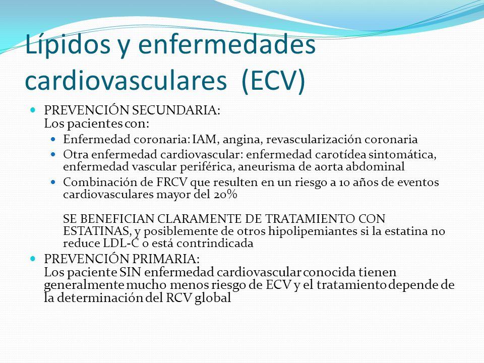 Lípidos y enfermedades cardiovasculares (ECV) PREVENCIÓN SECUNDARIA: Los pacientes con: Enfermedad coronaria: IAM, angina, revascularización coronaria