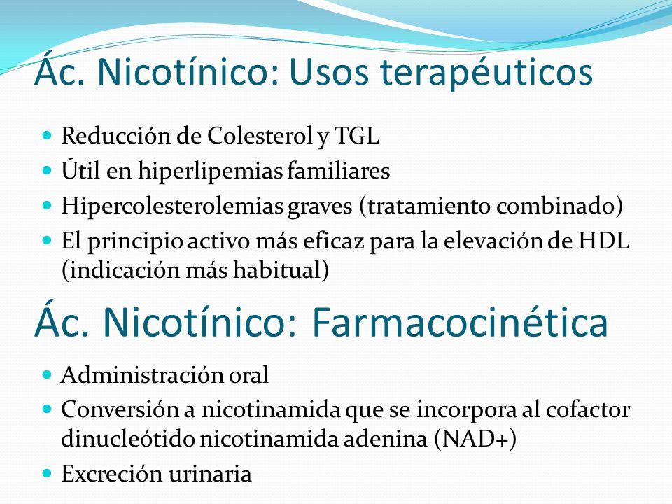 Ác. Nicotínico: Usos terapéuticos Reducción de Colesterol y TGL Útil en hiperlipemias familiares Hipercolesterolemias graves (tratamiento combinado) E
