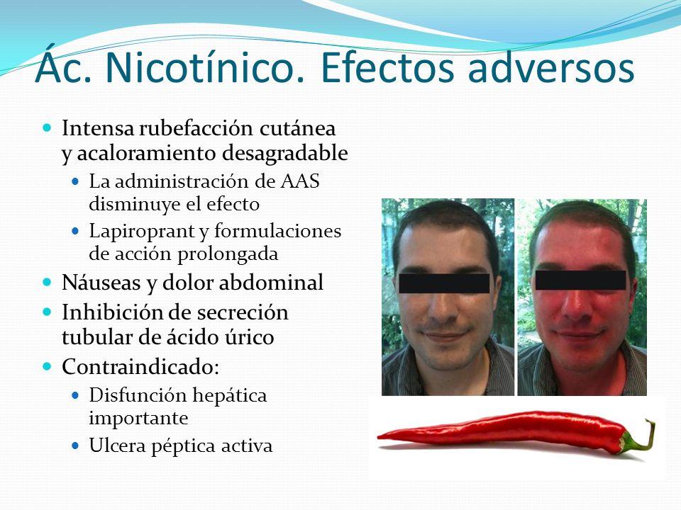 Ác. Nicotínico. Efectos adversos Intensa rubefacción cutánea y acaloramiento desagradable La administración de AAS disminuye el efecto Lapiroprant y f