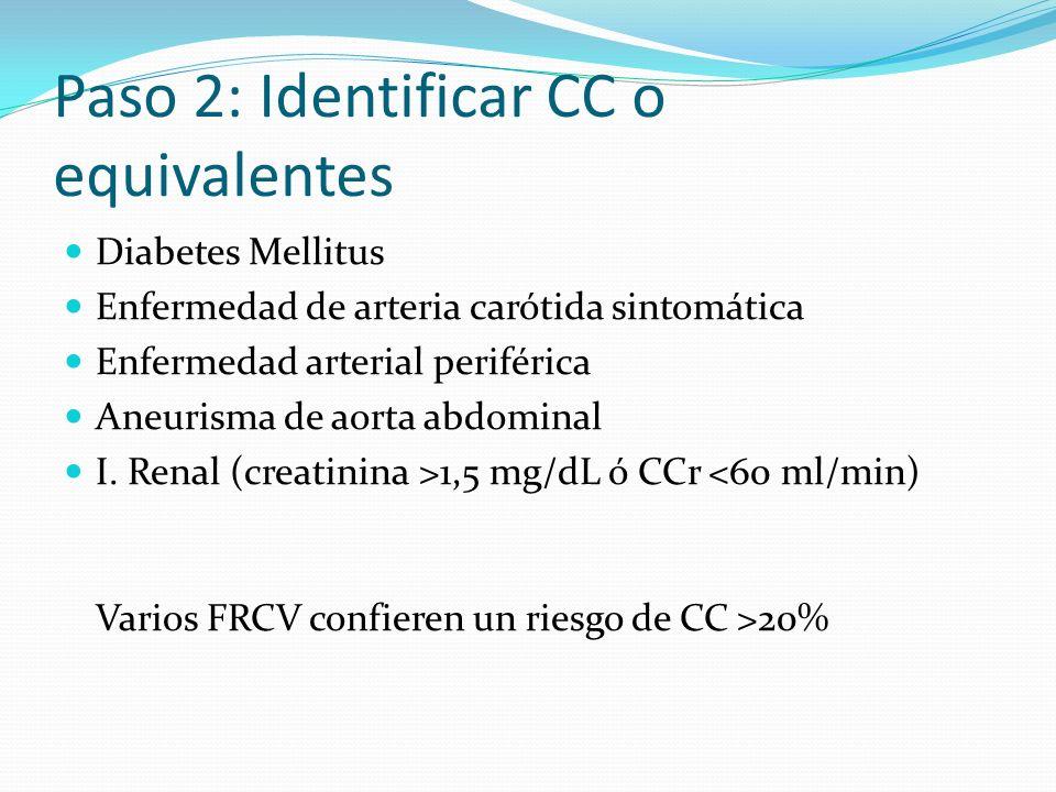 Paso 2: Identificar CC o equivalentes Diabetes Mellitus Enfermedad de arteria carótida sintomática Enfermedad arterial periférica Aneurisma de aorta a