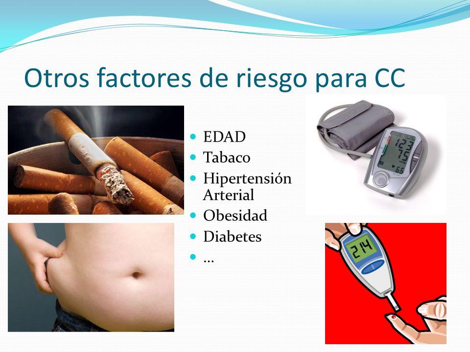 Otros factores de riesgo para CC EDAD Tabaco Hipertensión Arterial Obesidad Diabetes …