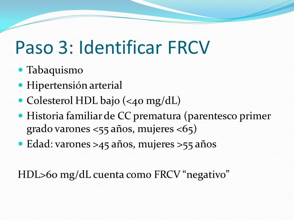 Paso 3: Identificar FRCV Tabaquismo Hipertensión arterial Colesterol HDL bajo (<40 mg/dL) Historia familiar de CC prematura (parentesco primer grado v