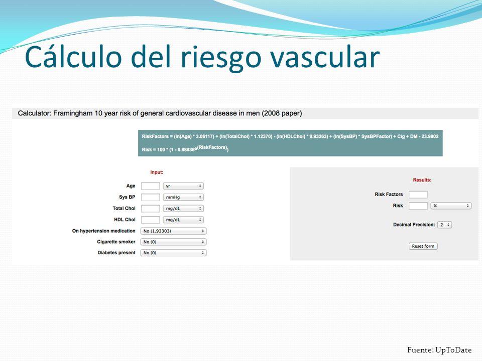 Cálculo del riesgo vascular Fuente: UpToDate