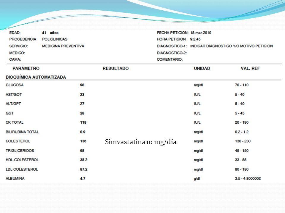 Simvastatina 10 mg/día