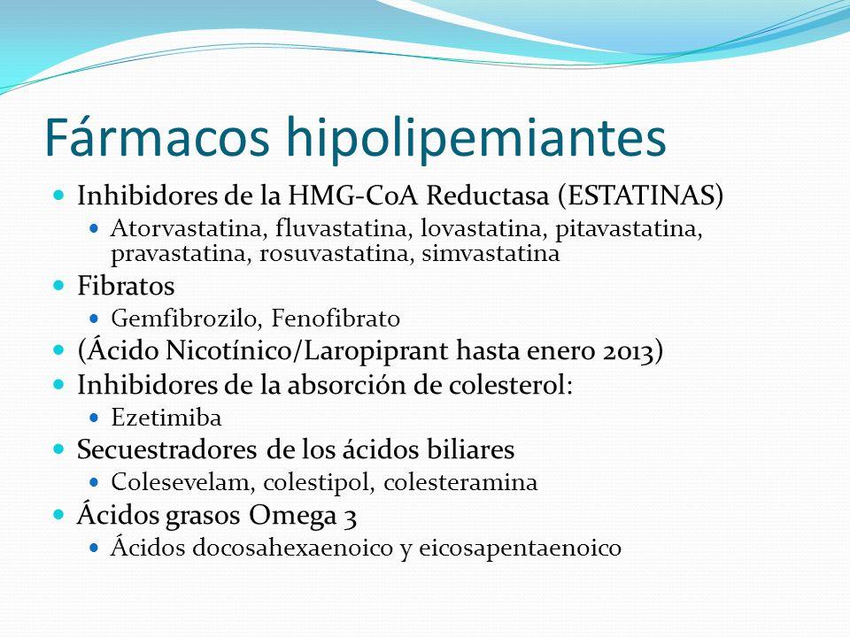 Fármacos hipolipemiantes Inhibidores de la HMG-CoA Reductasa (ESTATINAS) Atorvastatina, fluvastatina, lovastatina, pitavastatina, pravastatina, rosuvastatina, simvastatina Fibratos Gemfibrozilo, Fenofibrato (Ácido Nicotínico/Laropiprant hasta enero 2013) Inhibidores de la absorción de colesterol: Ezetimiba Secuestradores de los ácidos biliares Colesevelam, colestipol, colesteramina Ácidos grasos Omega 3 Ácidos docosahexaenoico y eicosapentaenoico