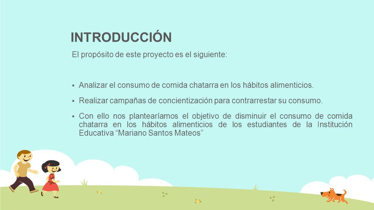 INTRODUCCIÓN El propósito de este proyecto es el siguiente: Analizar el consumo de comida chatarra en los hábitos alimenticios. Realizar campañas de c