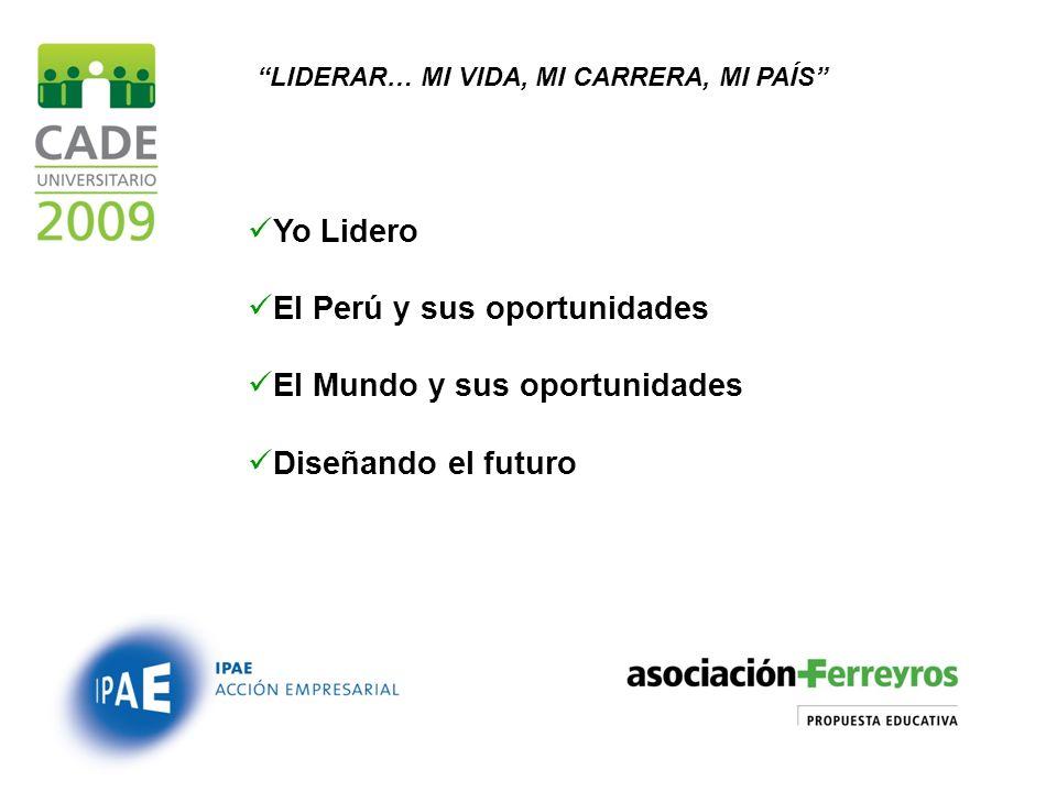 LIDERAR… MI VIDA, MI CARRERA, MI PAÍS Yo Lidero El Perú y sus oportunidades El Mundo y sus oportunidades Diseñando el futuro
