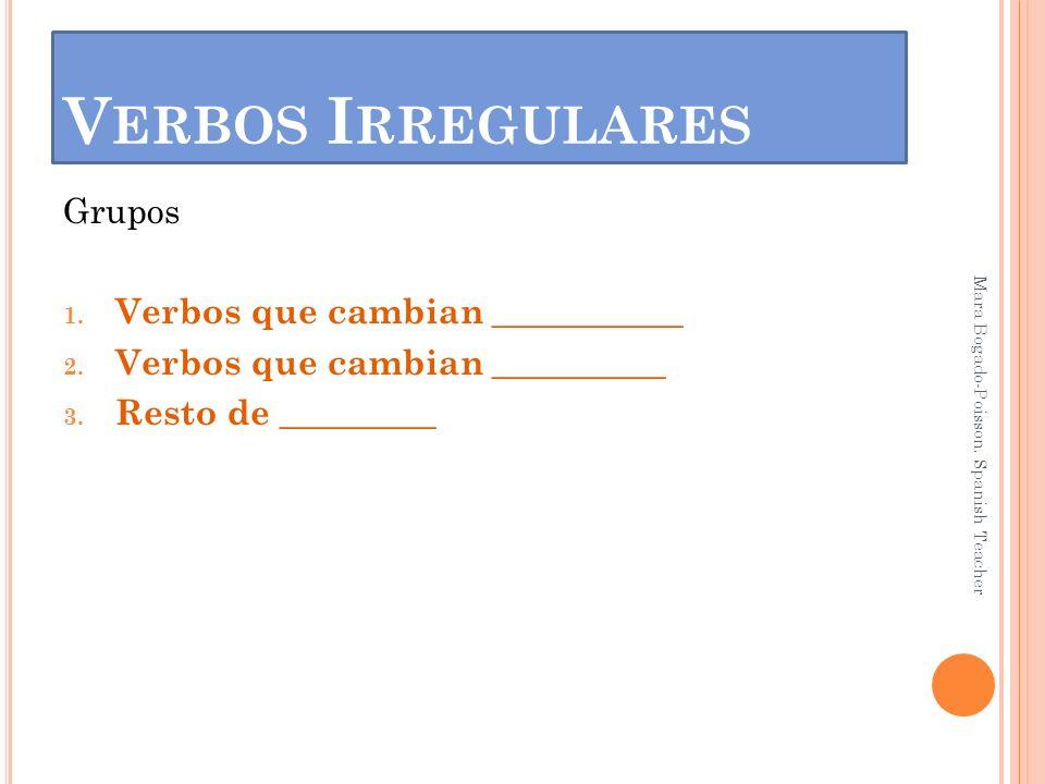V ERBOS I RREGULARES Grupos 1. Verbos que cambian ___________ 2. Verbos que cambian __________ 3. Resto de _________ Mara Bogado-Poisson. Spanish Teac