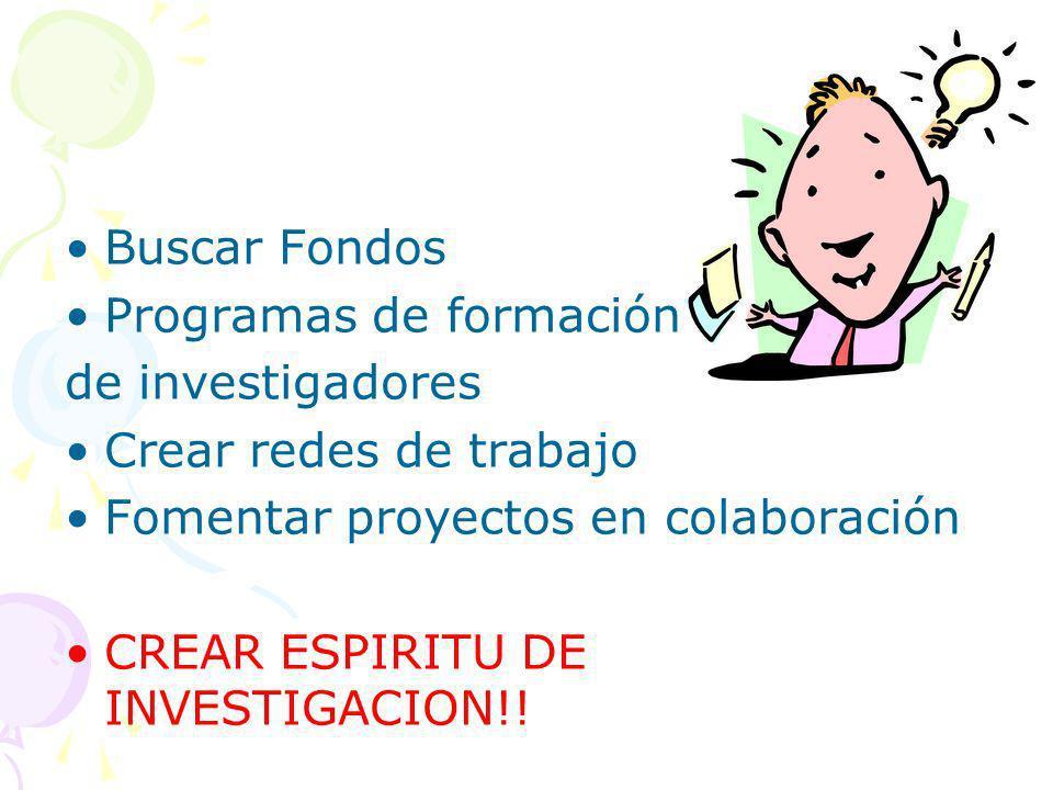 Buscar Fondos Programas de formación de investigadores Crear redes de trabajo Fomentar proyectos en colaboración CREAR ESPIRITU DE INVESTIGACION!!