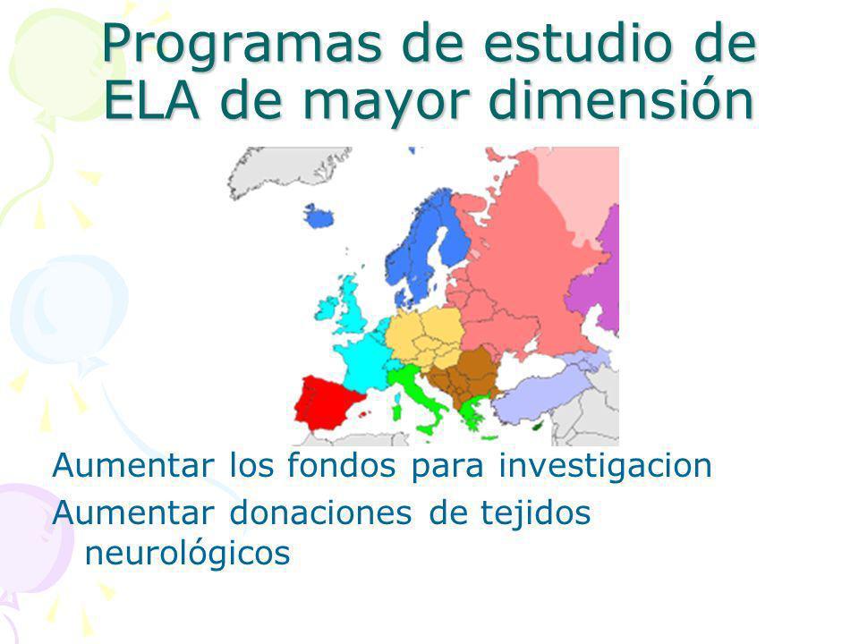 Programas de estudio de ELA de mayor dimensión Aumentar los fondos para investigacion Aumentar donaciones de tejidos neurológicos