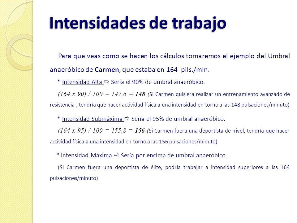 Intensidades de trabajo Para que veas como se hacen los cálculos tomaremos el ejemplo del Umbral anaeróbico de Carmen, que estaba en 164 pils./min. *