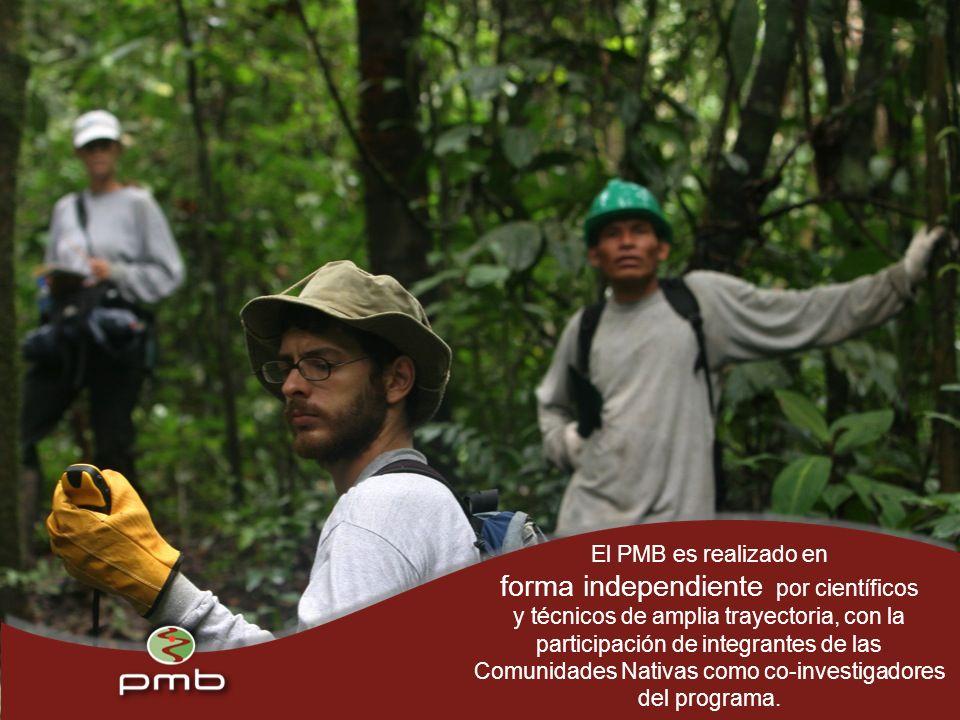 El PMB es realizado en forma independiente por científicos y técnicos de amplia trayectoria, con la participación de integrantes de las Comunidades Nativas como co-investigadores del programa.
