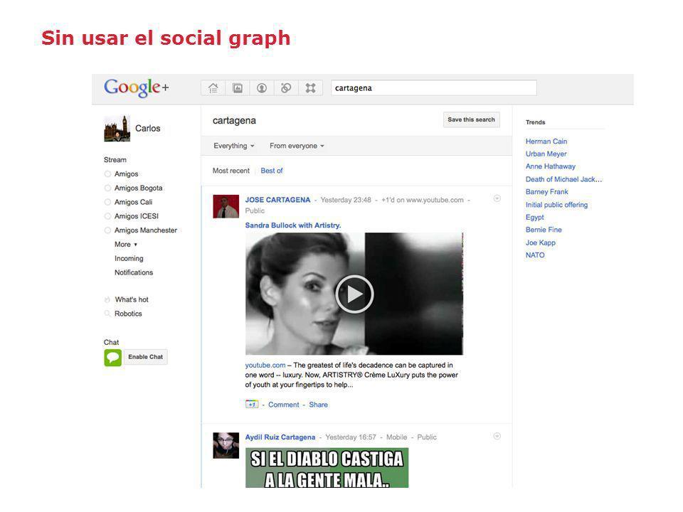 Sin usar el social graph