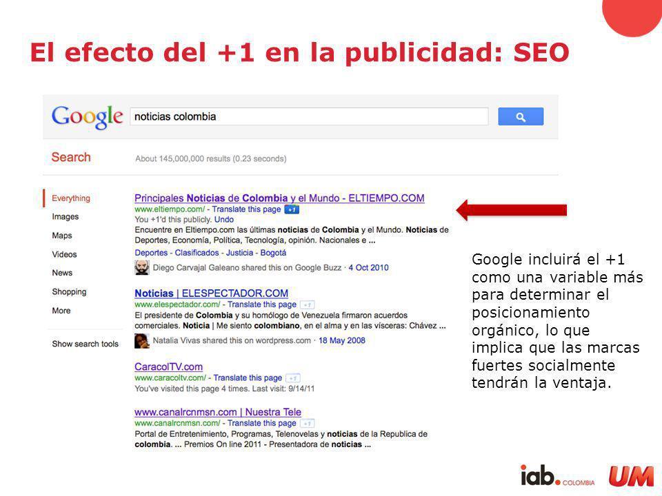 El efecto del +1 en la publicidad: SEO Google incluirá el +1 como una variable más para determinar el posicionamiento orgánico, lo que implica que las marcas fuertes socialmente tendrán la ventaja.