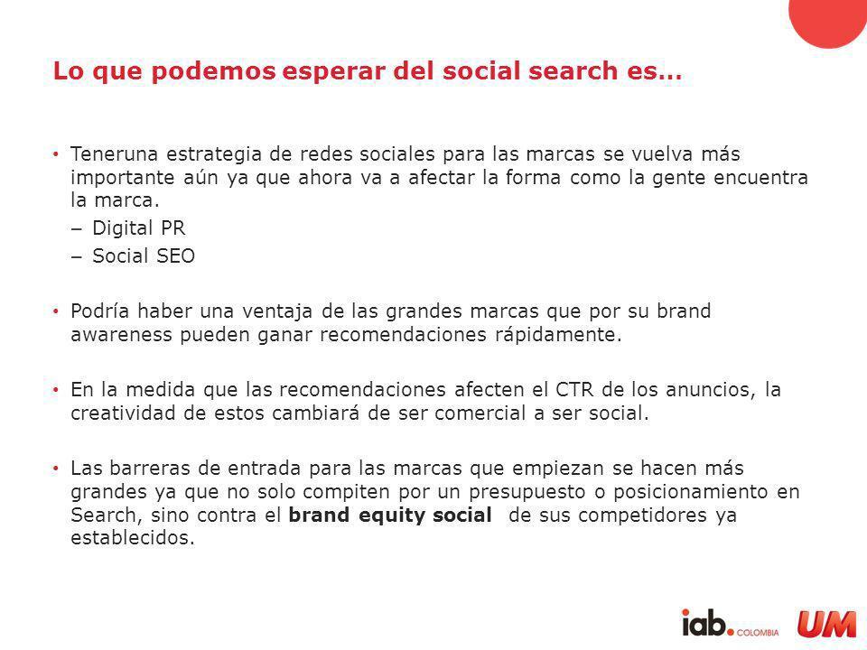Lo que podemos esperar del social search es… Teneruna estrategia de redes sociales para las marcas se vuelva más importante aún ya que ahora va a afectar la forma como la gente encuentra la marca.